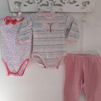 Kit 3pçs Bodies de borboletinha e coraçãozinhos e culote Tam 6 a 9 meses - 6 a 9 meses - Up Baby
