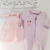 Kit 2pçs Vestido rosa e Macacão da Minnie Tam 6 a 9 meses - 6 a 9 meses - Cheeky