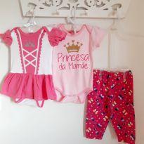 Kit 3pçs Princess Body, Macaquinho e Calça Tam 9 a 12 meses - 9 a 12 meses - Marca não registrada