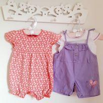 Kit 3pçs Macaquinhos florzinhas e borboletinha com blusa Tam 9 a 12 meses - 9 a 12 meses - Não informada
