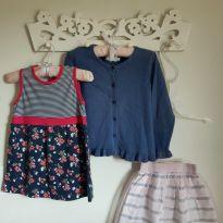 Kit 3pçs Vestido de florzinhas, Cardigan azul e saia em glitter e tule Tam 2 - 2 anos - EPK