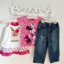 Kit 3pçs Calça Jean moderninha, Blusa da minnie e Vestido de coelinho Tam 2 - 2 anos - EPK e Momi