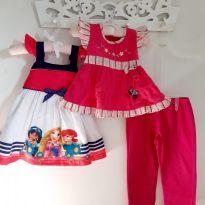 Kit 3pçs Vestido de princesas, Blusa de borboletinha e Calça moletom Tam 3 - 3 anos - Brandili