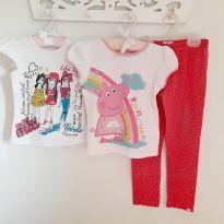 Kit 3pçs Blusas Peppa Pig e Girls Princess com calça onça cor pink Tam 5 - 5 anos - Peppa Pig