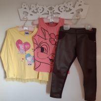 Kit 3pçs Calça Skinny Couro, Blusa PeppaPig c/babado e Blusa de gatinha Tam 6 - 6 anos - Infanti e Peppa Pig