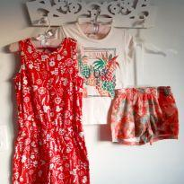 Kit 3pçs Love Summer Macaquinho, blusa e short Tam 8 - 8 anos - Brandili