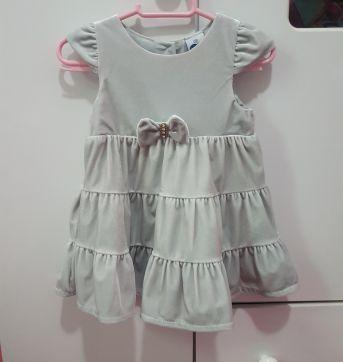 Vestido de festa prata veludo - 6 a 9 meses - Tip Top