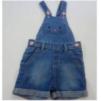 Jardineira jeans coelhinha - 9 a 12 meses - Teddy Boom