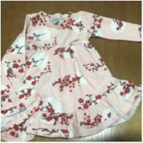 Vestido florido - manga longa -  1 ano - 1 ano - Alakazoo!