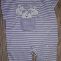 Macacão listrado lilás e branco - 9 meses - Up! UL!
