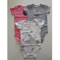 Kit 3 body manga curta Carters 9 meses - 9 meses - Carter`s