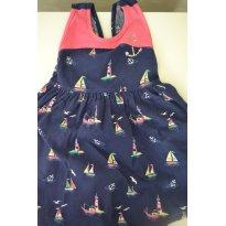 Vestido de Tecido Azul Marinho com estampa de Navio - 2 anos - Kyly