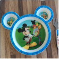 Prato e talher inox mickey -  - Disney