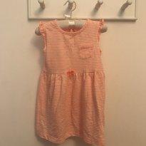 Vestido Carter`s laranja listrado tam 24 meses - 2 anos - Carter`s