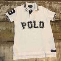 Camisa Polo Ralph Lauren Branca inscrição POLO em azul tam 6