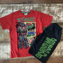 Conjunto Tartarugas Ninja Fakini camiseta e bermuda tamanho 8 - 8 anos - Fakini