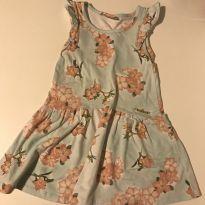 Vestido floral Milon, fundo azul claro degradê, tam 3 - 3 anos - Milon