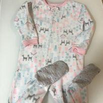 Pijama em fleece Carter's, tipo macacão, estampa alces, tam 4T - 4 anos - Carter`s