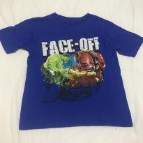 Camiseta azul Hulk e Homem de Ferro tam 8 - 8 anos - Avengers