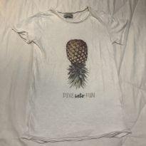 Camiseta Zara abacaxi tam 8 efeito descosturado - 8 anos - Zara