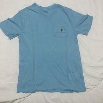 Camiseta gola V Polo Ralph Lauren azul piscina tam 8 - 8 anos - Ralph Lauren