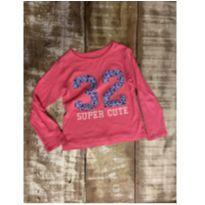 Blusa rosa manga longa Carter's aplicação floral tam 3T - 3 anos - Carter`s