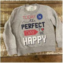 Blusa moletom peluciado Malwee cinza tam 4 Today is the Perfect Day to be Happy - 4 anos - Malwee