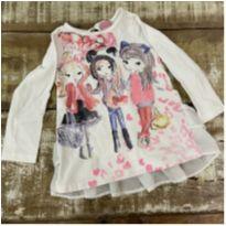 Blusa garotas fashionistas MOMI manga longa babado tam 2 - 2 anos - Momi