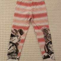 Calça legging Pulla Bulla tam 3 gato urso listras salmão - 3 anos - Pulla Bulla