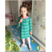Vestido Gymboree manga longa verde margaridas gola rosa tam 3T. - 3 anos - Gymboree