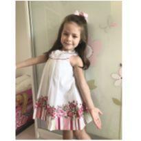Vestido Bella Bambina branco floral tamanho 3 - 3 anos - Bella bambina