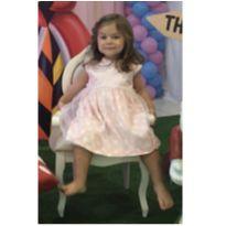 Vestido de festa rosa, bolas, com tule Bárbara Coloré tamanho 3 - 3 anos - Barbara Colorê