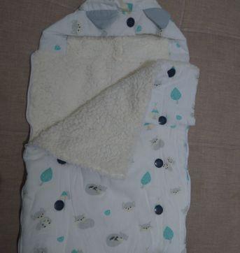 Porta Bebê com Capuz Raposinha Cinza - 6 meses - Grão de Gente