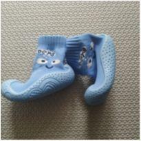 Meia com sola azul claro - 6 meses - Pimpolho