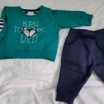 Conjunto de calça e blusão de moletom - 3 a 6 meses - Não informada