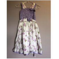 Vestido de flores lilas e branco - 12 anos - Flu Flu
