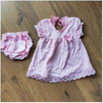 Vestido rosa com tapa fralda - 3 a 6 meses - Van baby