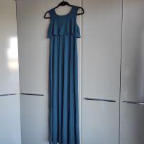 Vestido Gestante Amamentação Azul - M - 40 - 42 - Não informada