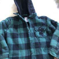Jaqueta infantil menino xadrez verde e azul com capuz