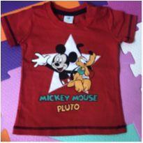 Camisa manga curta Mickey e Pluto - 0 a 3 meses - Disney baby