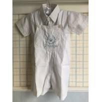 Jardineira Short Batizado Baby Boy - 9 a 12 meses - paiffer