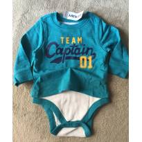 Body com camiseta manga longa TEAM CAPITAIN - 3 a 6 meses - Old Navy