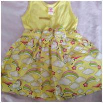 Vestido amarelo saia unicórnio - 9 meses - Não informada