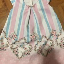 Vestido azul e rosa com flores e pássaros - 3 a 6 meses - Kiki Xodó