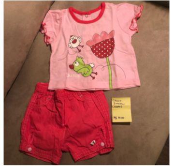 Conjunto Chicco - Short e Blusa - 3 meses - LINDO e Pouco Usado - 3 meses - Chicco