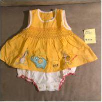 Vestido Body Amarelinho Chicco - 3 meses - com calcinha acoplada - 3 meses - Chicco