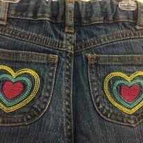 Calça Jeans Flare Bordada Corações Carter's Tamanho 2T - 18 a 24 meses - Carter`s