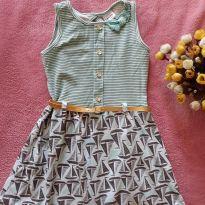 Vestido Verde + Cinto Dourado - 4 anos - Fakini
