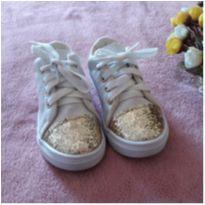 Tênis Branco Dourado Brilhante - 25 - Danguinho