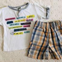 Camiseta cotton e shorts tecido - 3 a 6 meses - George